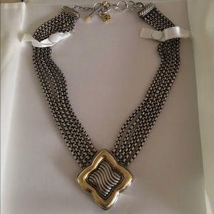 Rare David Yurman Quatrefoil silver gold necklace